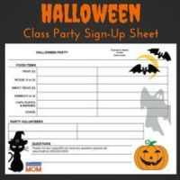 halloween party sign up sheet classroom