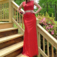 Red lace two piece prom dress two pieces cut out back that looks