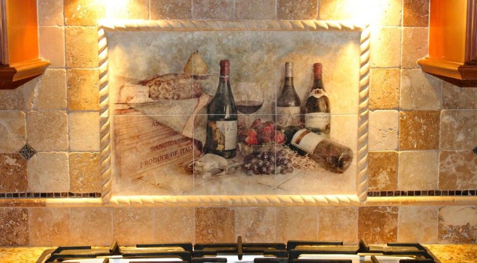 Charming Kitchen Backsplash Mural Tiles With Country