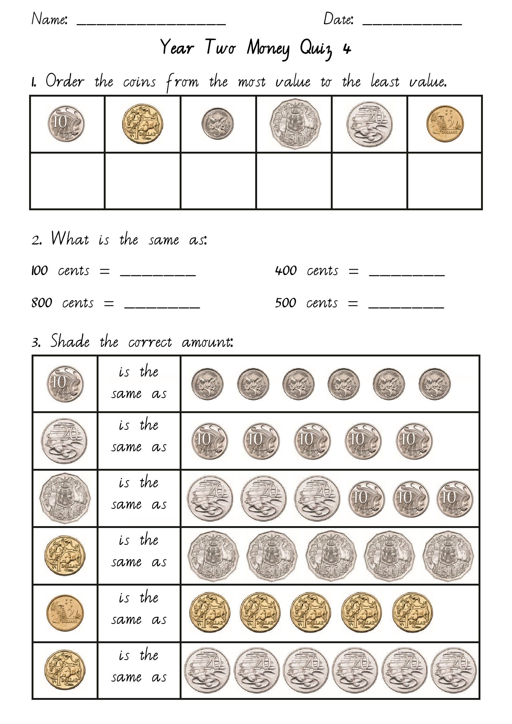 Back Change Math Money Worksheets