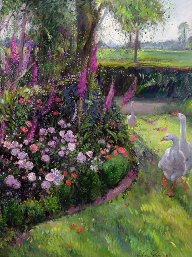 ROSE BED AND GEESE  Painting  Pinterest