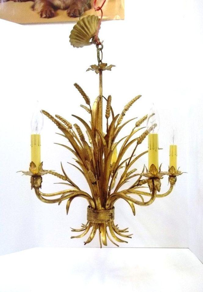Italian Gold Gilt Wheat Chandelier Five Light Floine Sheaf Of Tole Hollywood Regency Mid