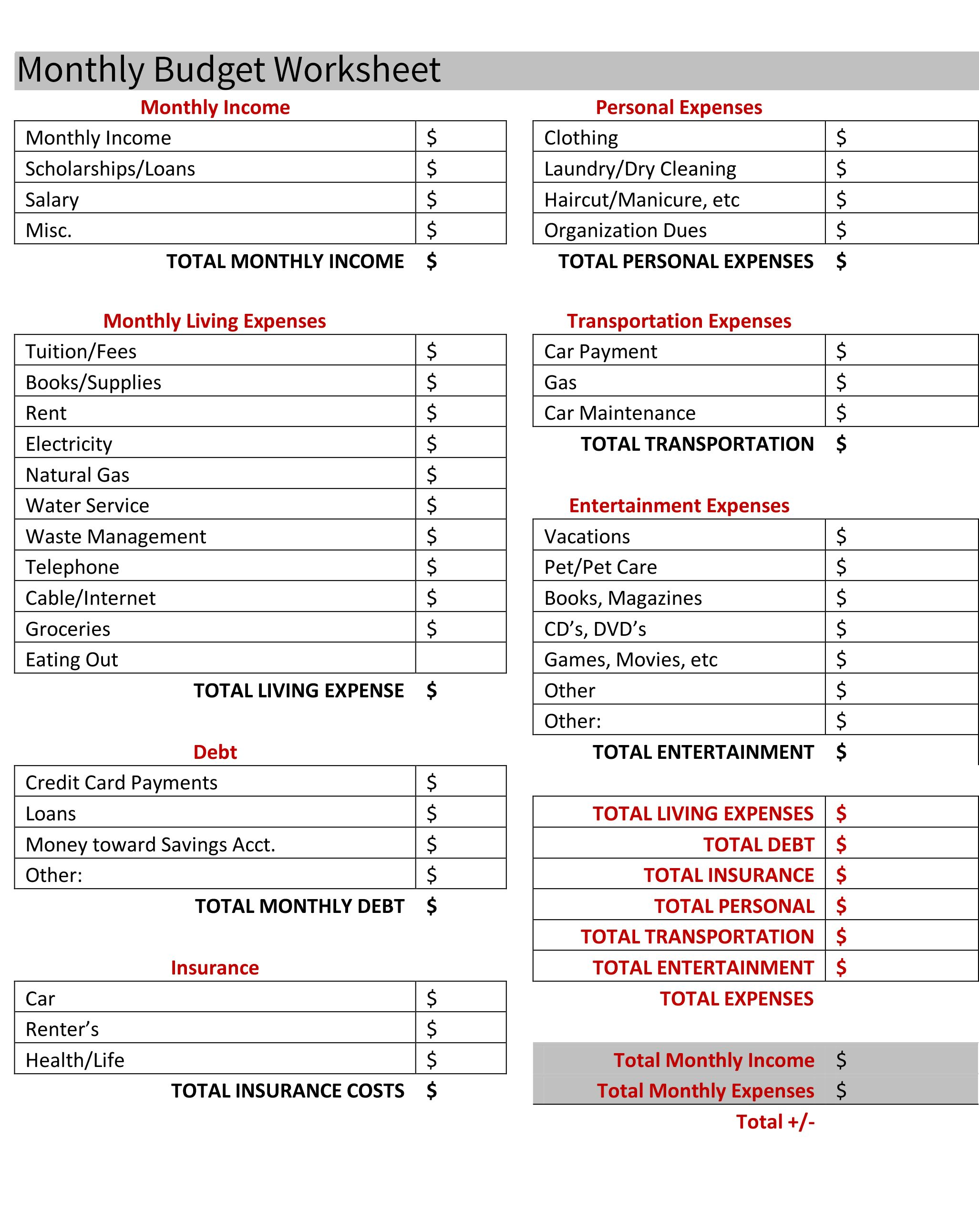 Budgeting For Your First Apartment Free Budget Worksheet