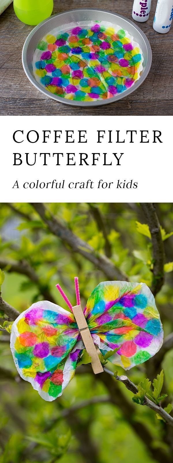 Coffee Filter Butterfly Craft for Kids | Butterfly crafts ...