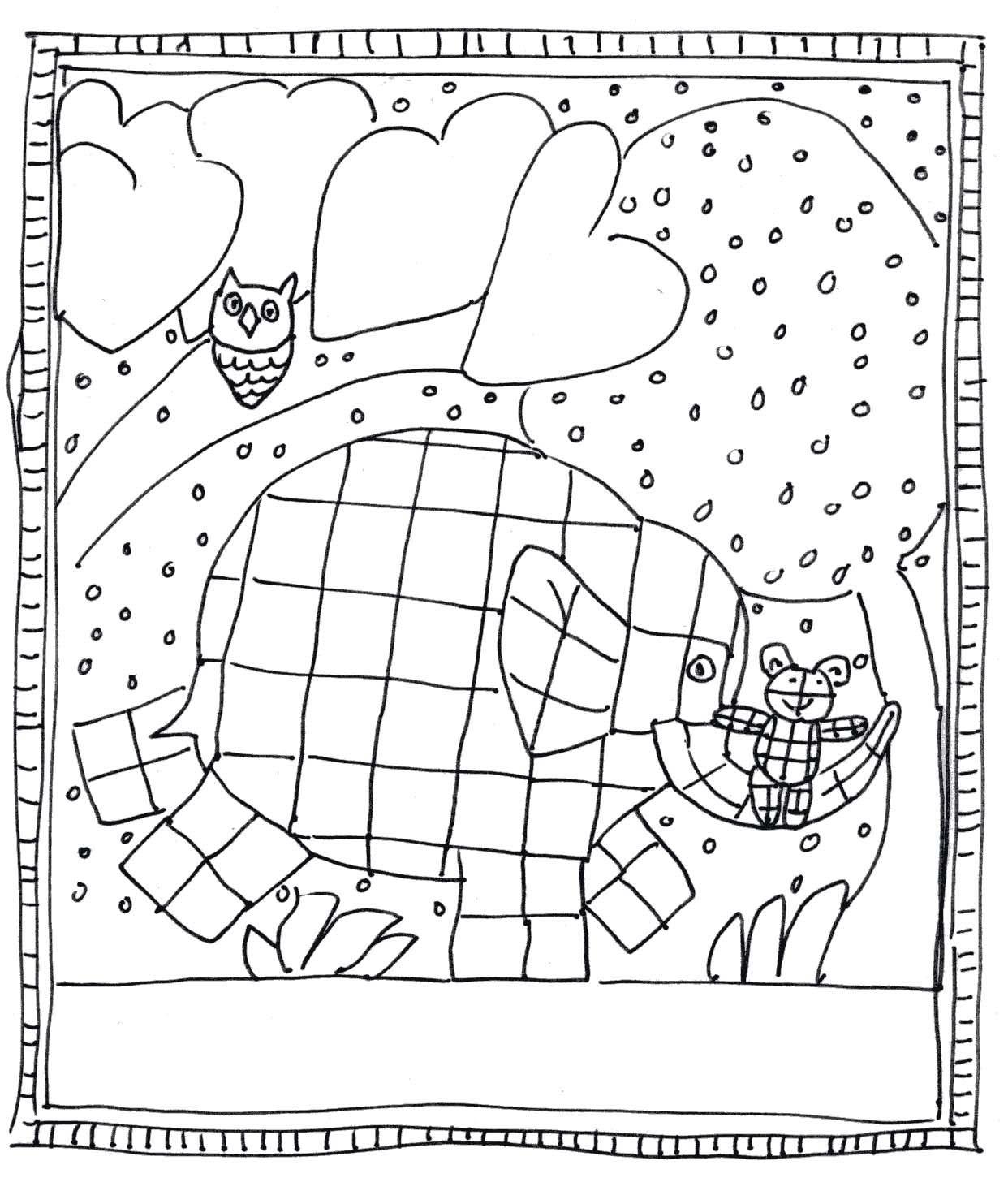 Kleurplaat Elmer En Het Knuffelbeertje In De Nacht 1