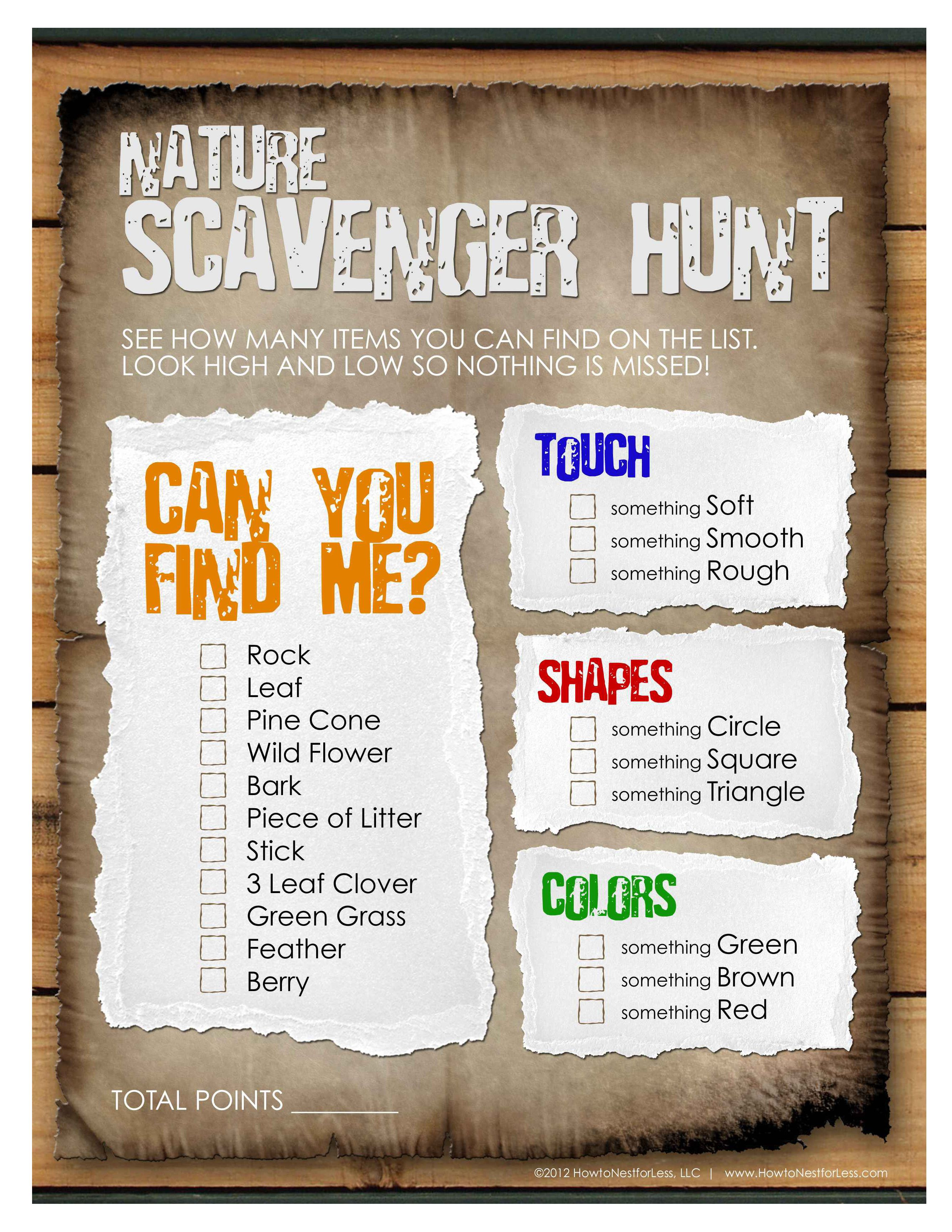 Nature Scavenger Hunt From How To Nest For Less