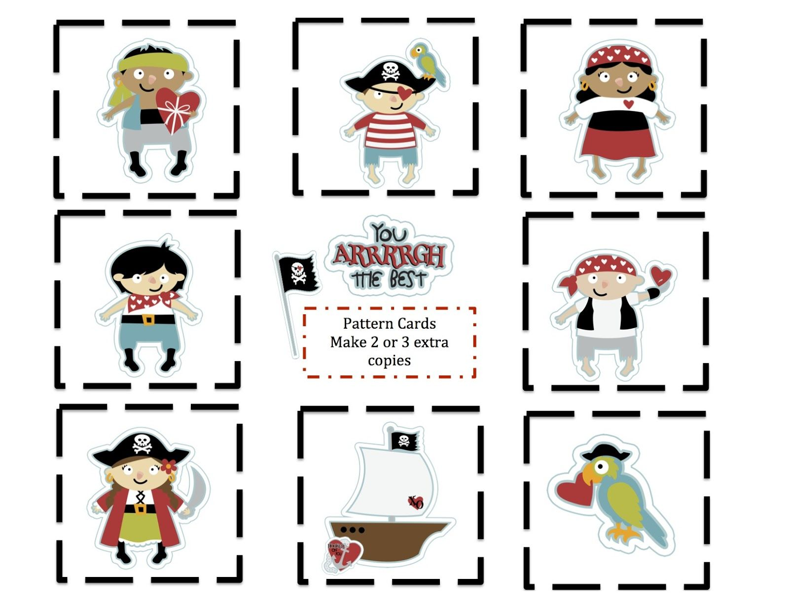 Pirate Valentine Pattern Cards