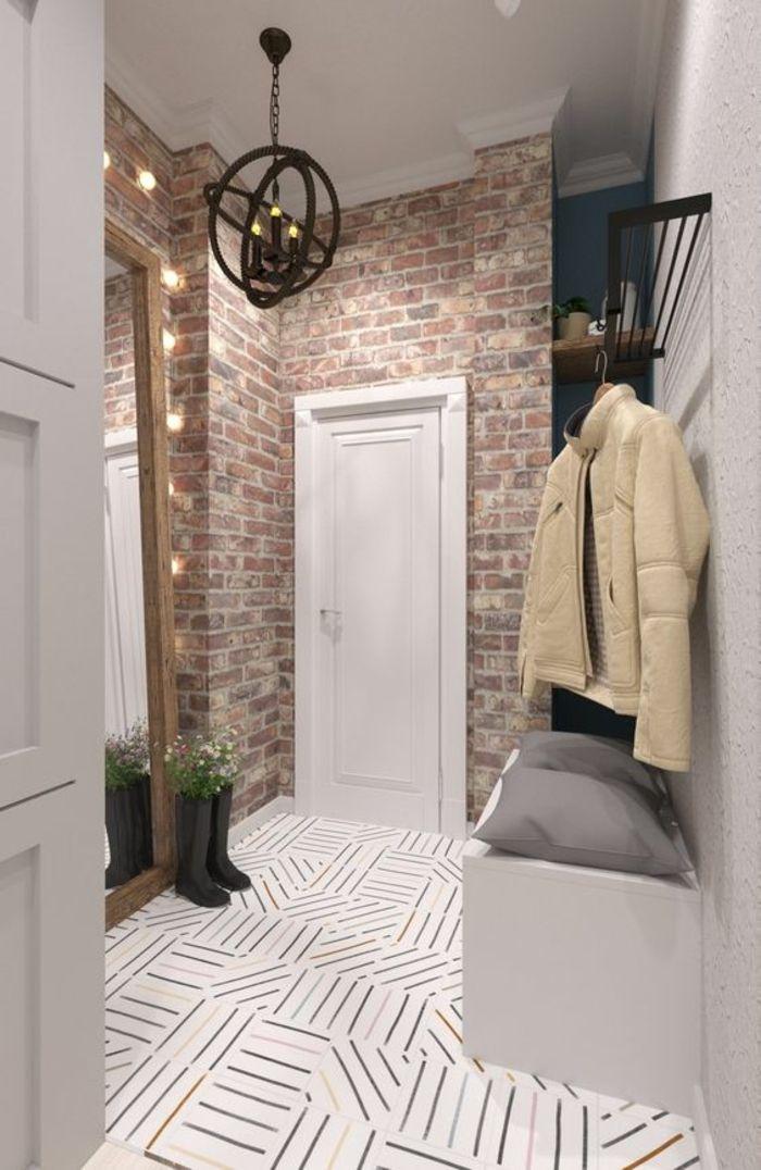 idee deco hall d entree maison aux murs couleur lavande et partie en brique nature brute