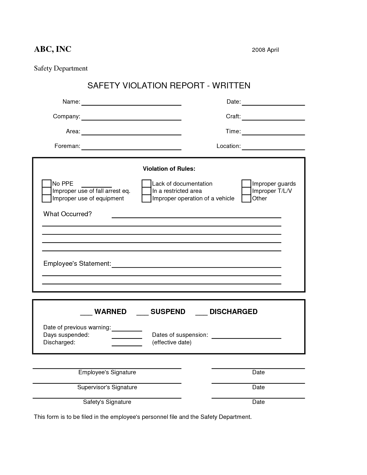 Employee Safety Violation Form