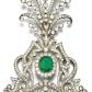 Emerald and diamond aigrette s of open work scroll design set