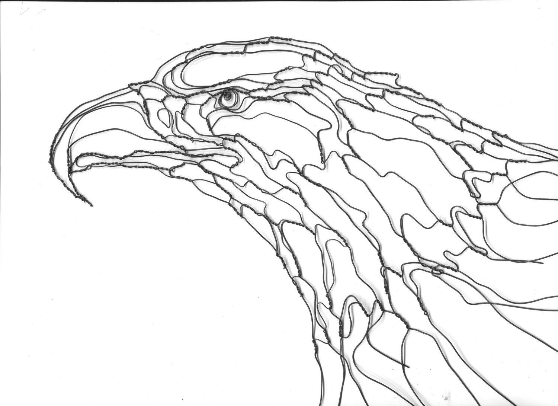 Wire Sculpture Wall Art 2d 12in Eagle Head By Elizabeth