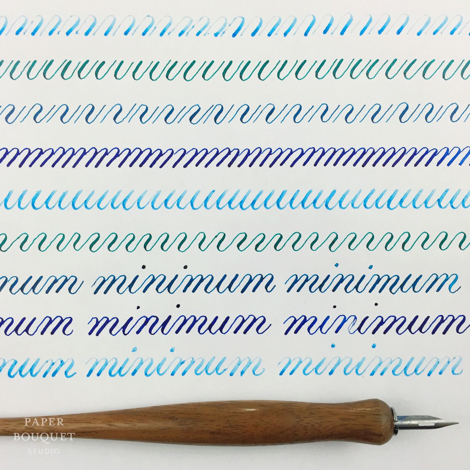 Shades Of Blue Calligraphy Drill Practice