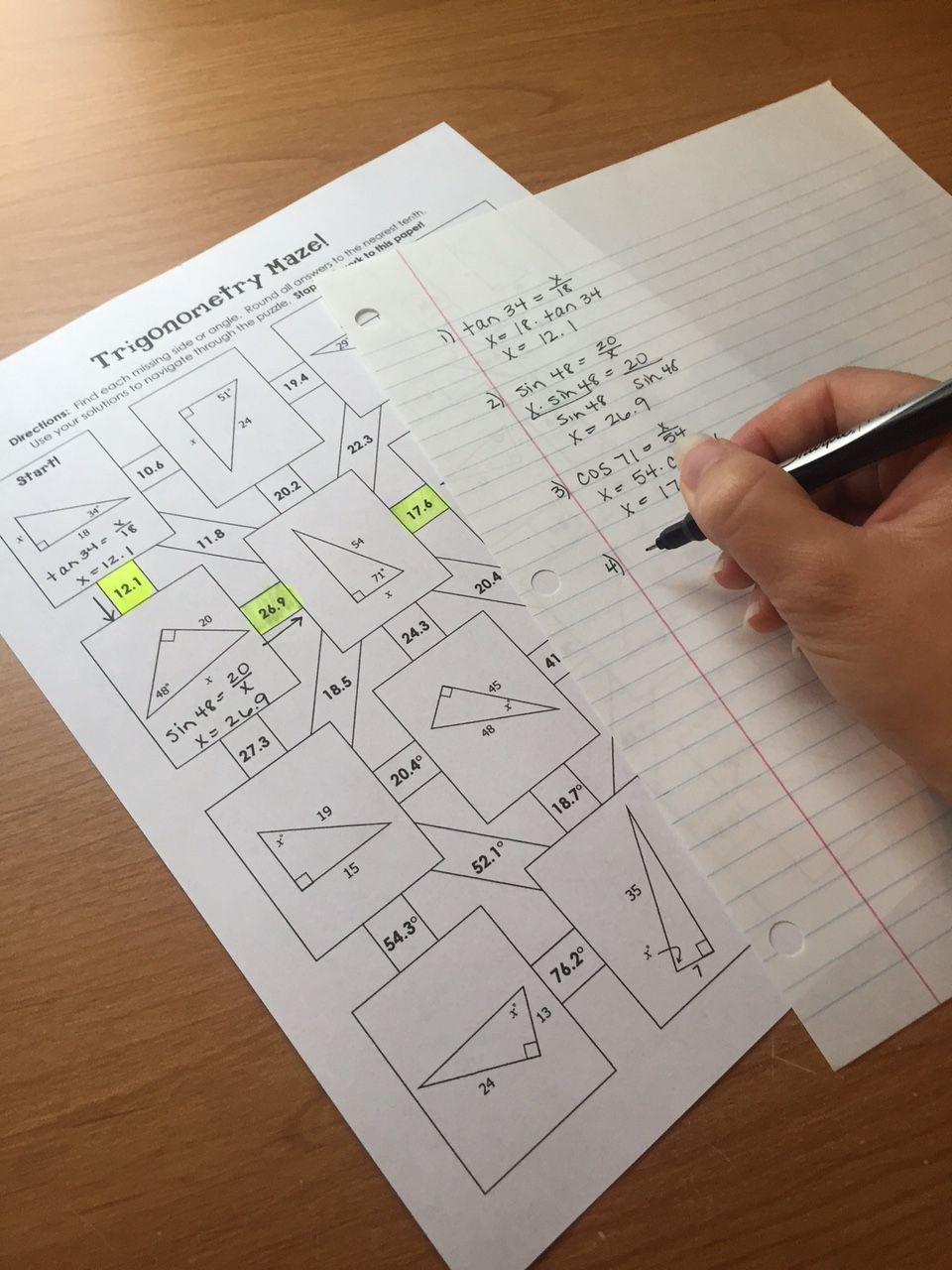 Trigonometry Soh Cah Toa Mazes