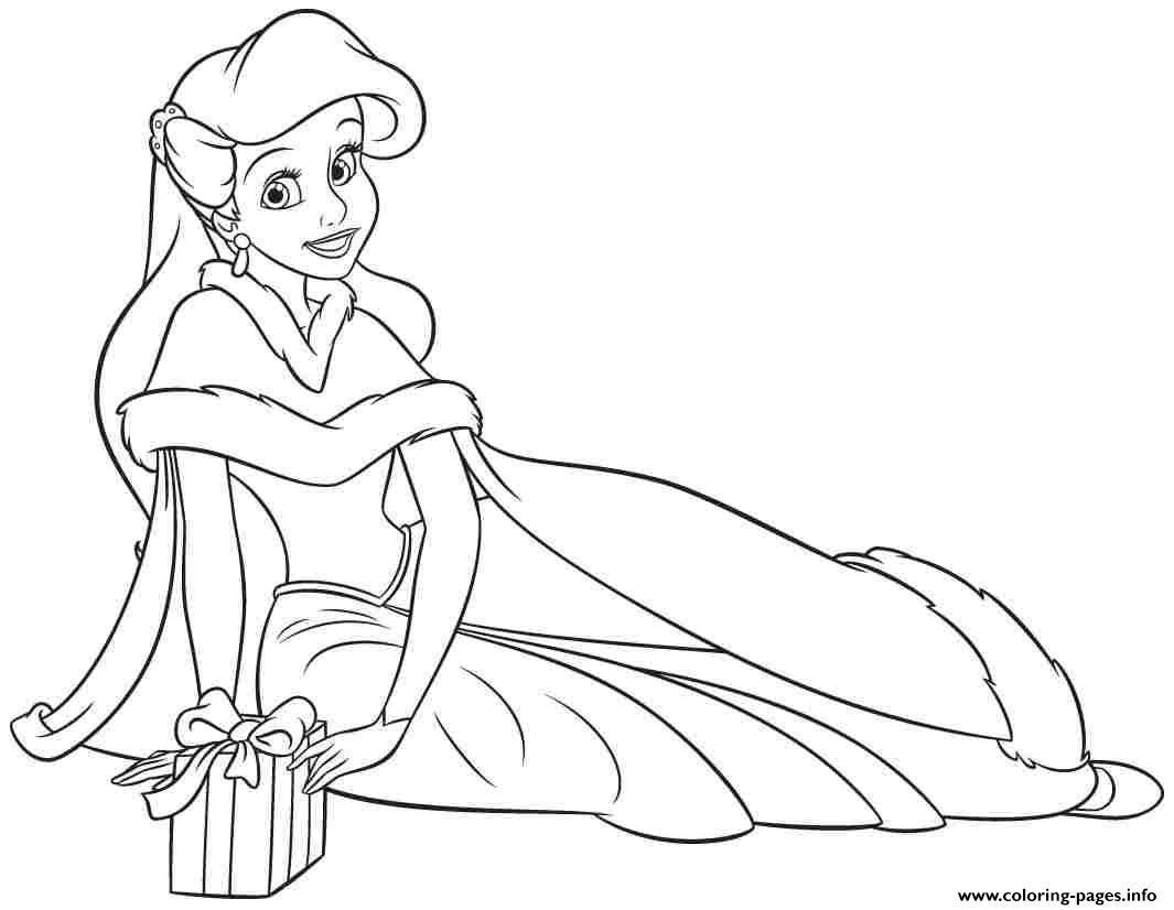 Print Princess Ariel Human Christmas Coloring Pages Coloring