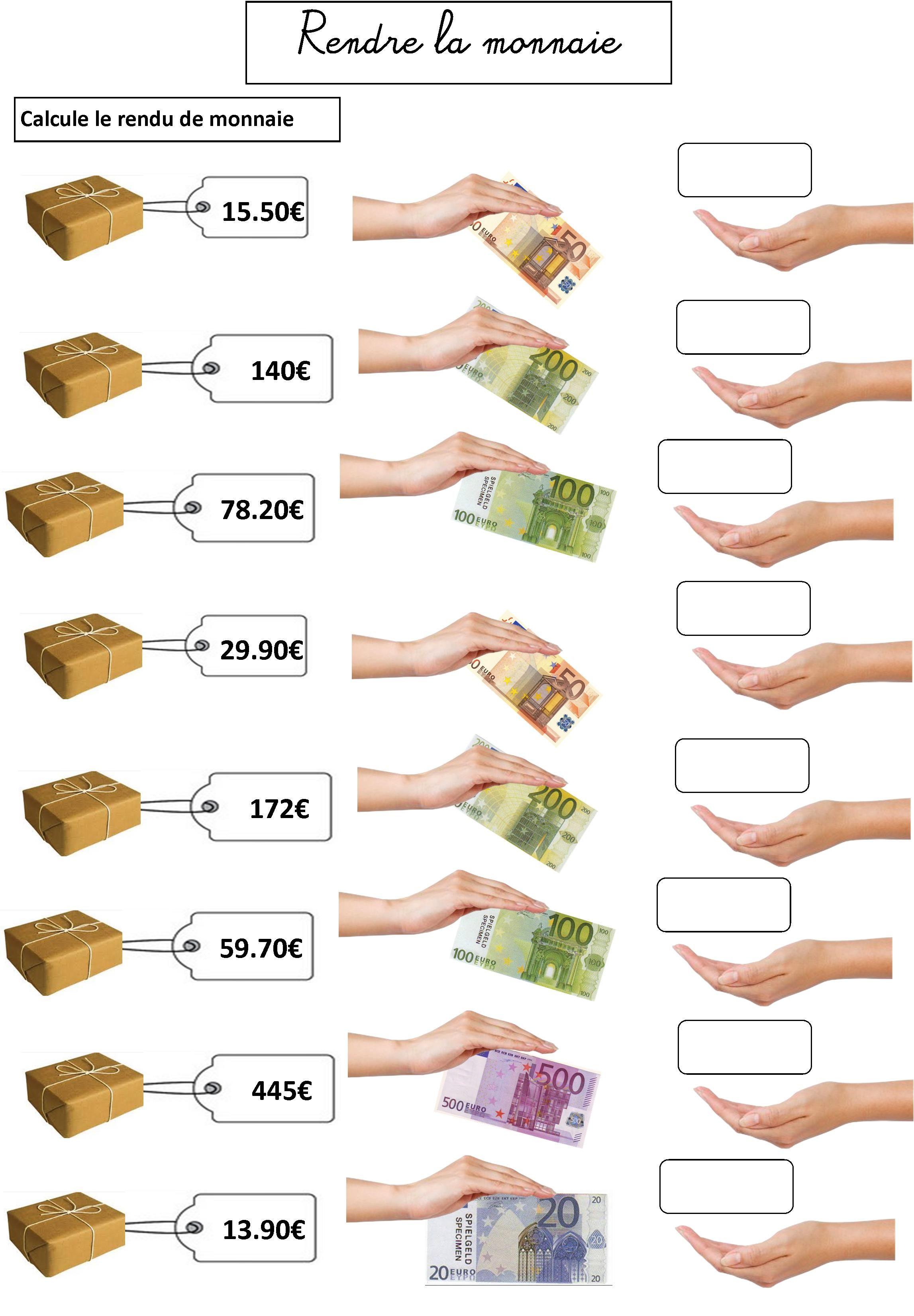 Grandeurs Et Mesures Ce1 Ce2 L Euro Lecon Et Exercices