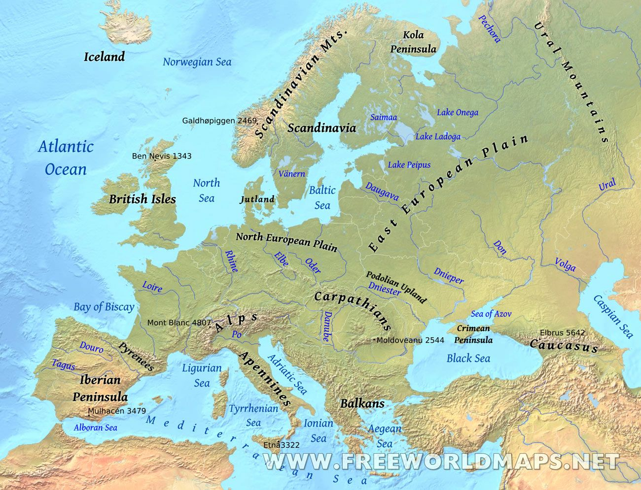 Europe Physical Map