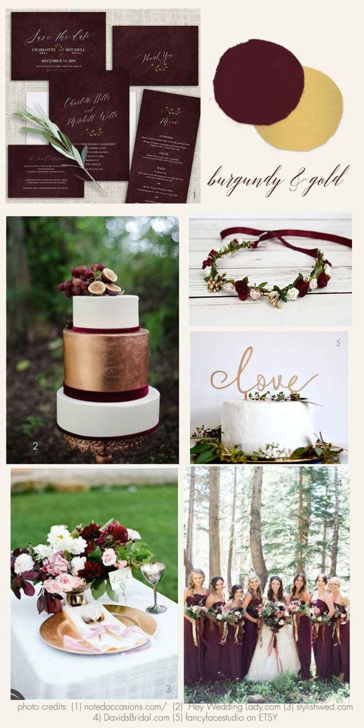 Burgundy and Gold Wedding Inspiration And Ideas  Beautiful Wedding