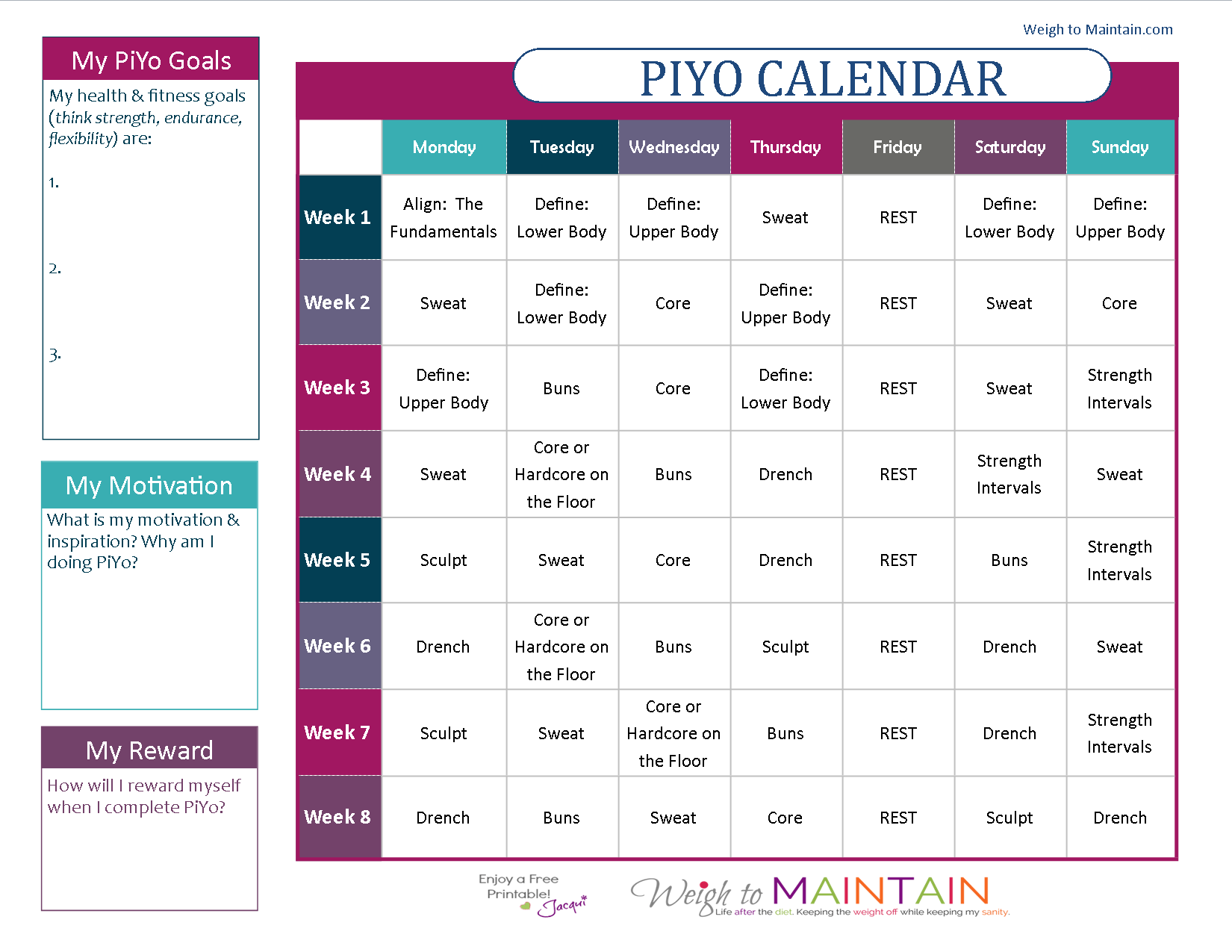 Printable Piyo Calendar And Workout Schedule For Both The