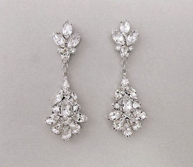 Chandelier Bridal Earrings In A Dramatic Teardrop Shape Adds Style To All Wedding Dress Silhouettes