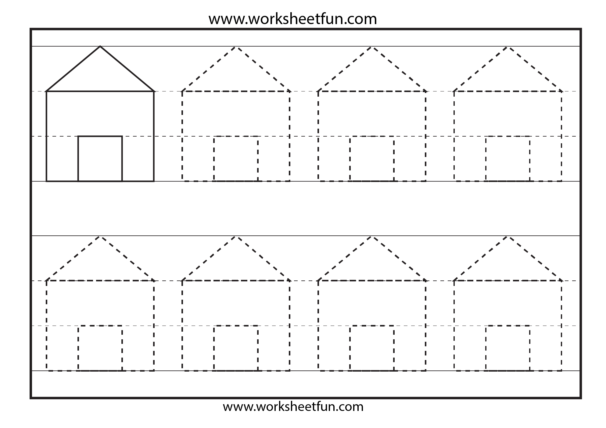 Preschool Shapes Tracing 6 Worksheets Free Printable