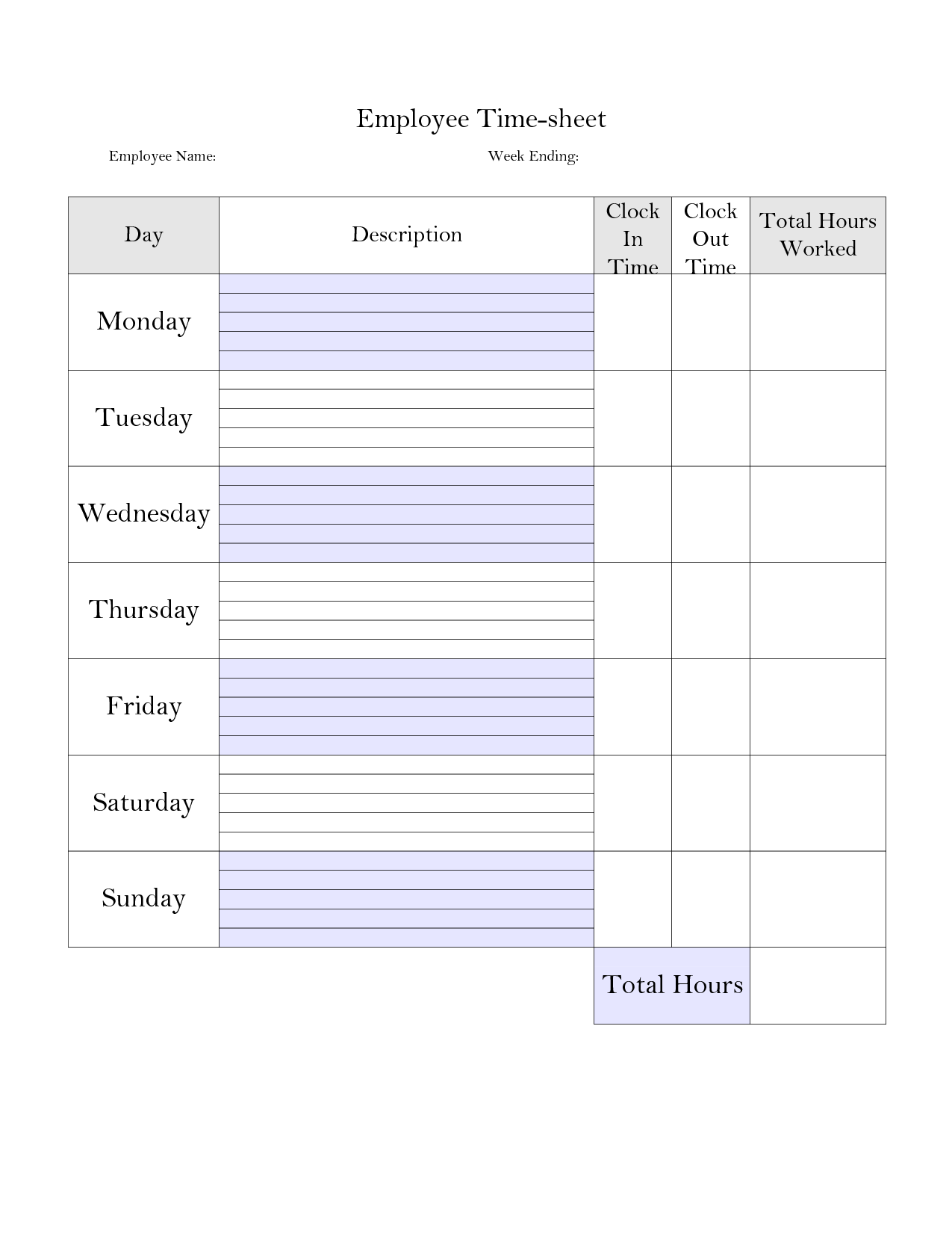Printable Weekly Time Sheet
