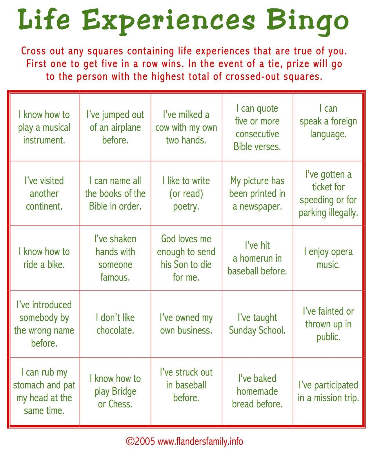 Ice Breaker Bingo For Adults