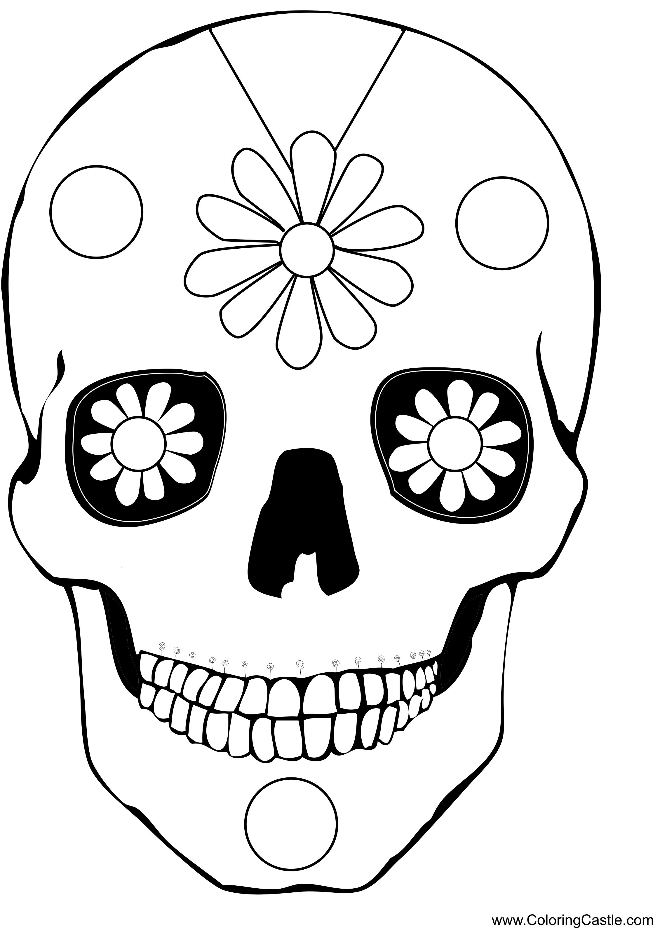Easy Calavera Mask With Daisies