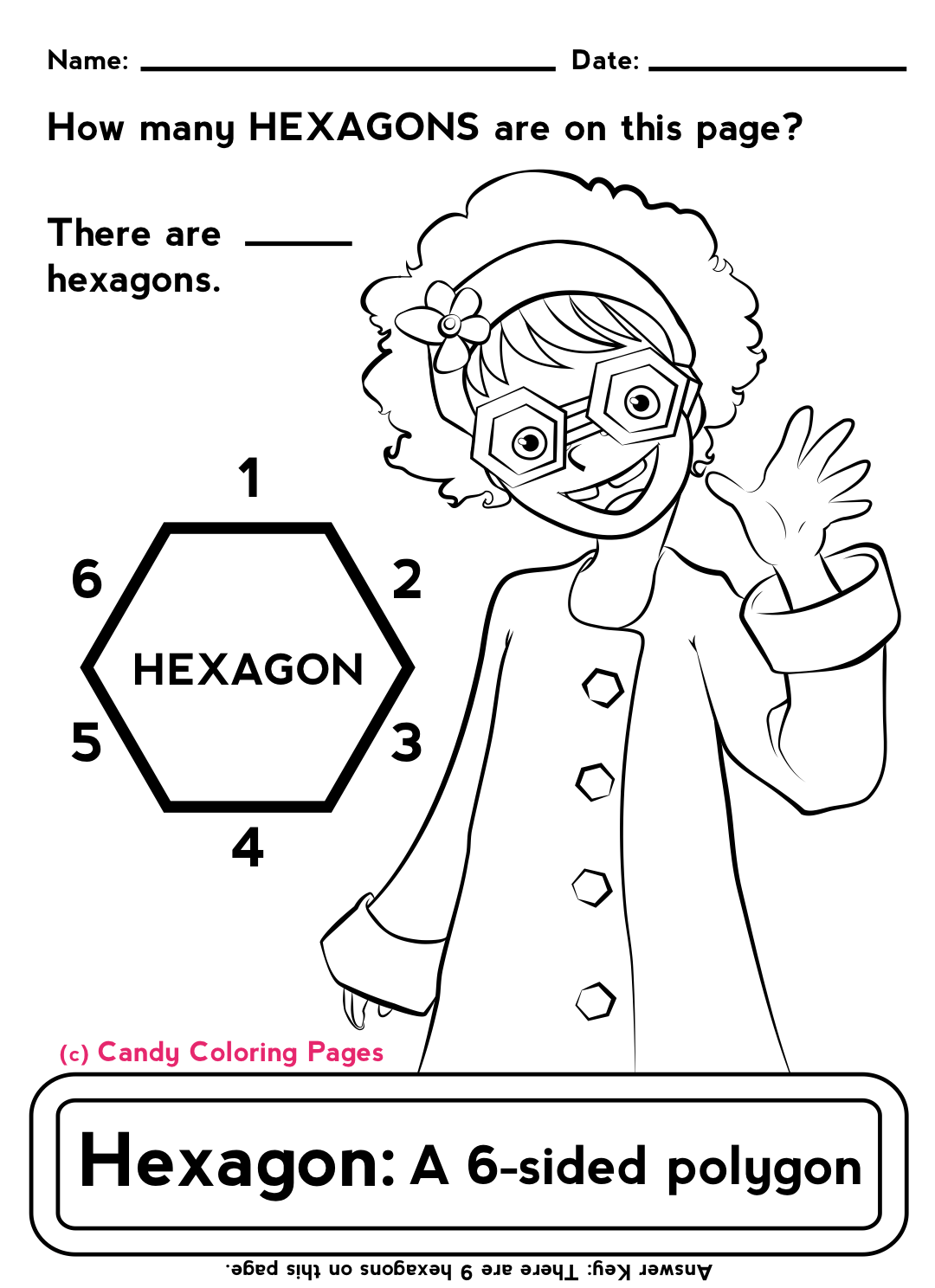 Polygons Hexagon Coloring Pages Math Worksheets