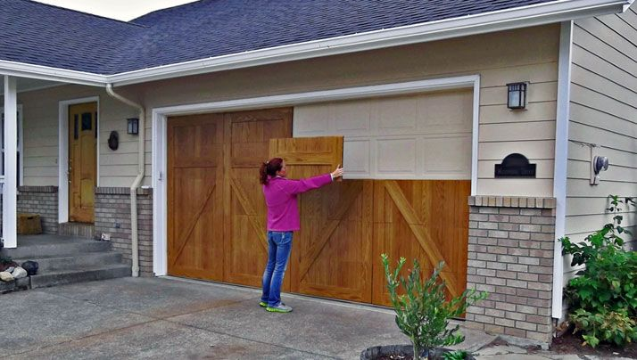 GarageSkins Give You a Wood Look Without the Cost   Woods ... on Garage Door Painting Ideas  id=72816