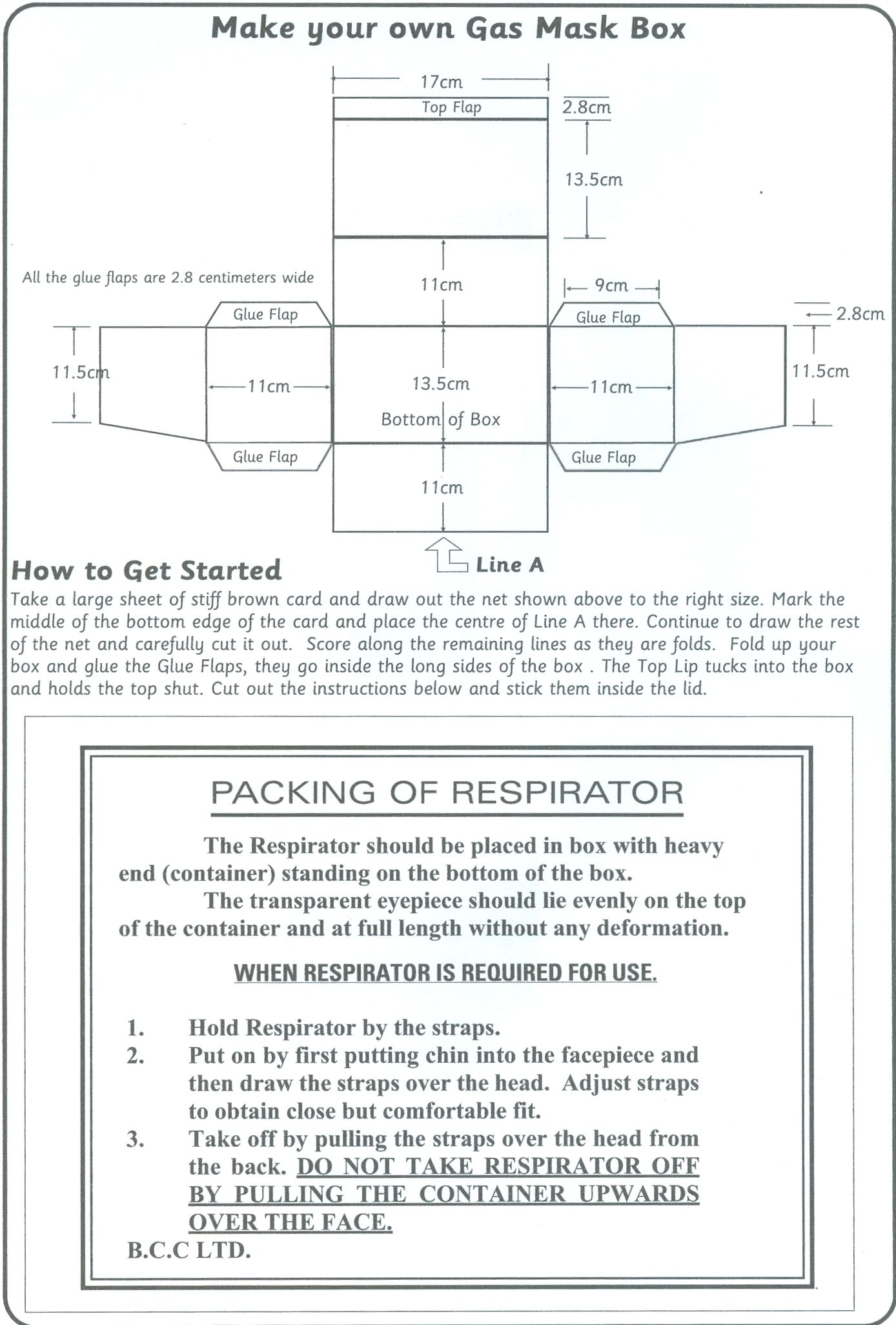 Template Of A Gas Mask Box