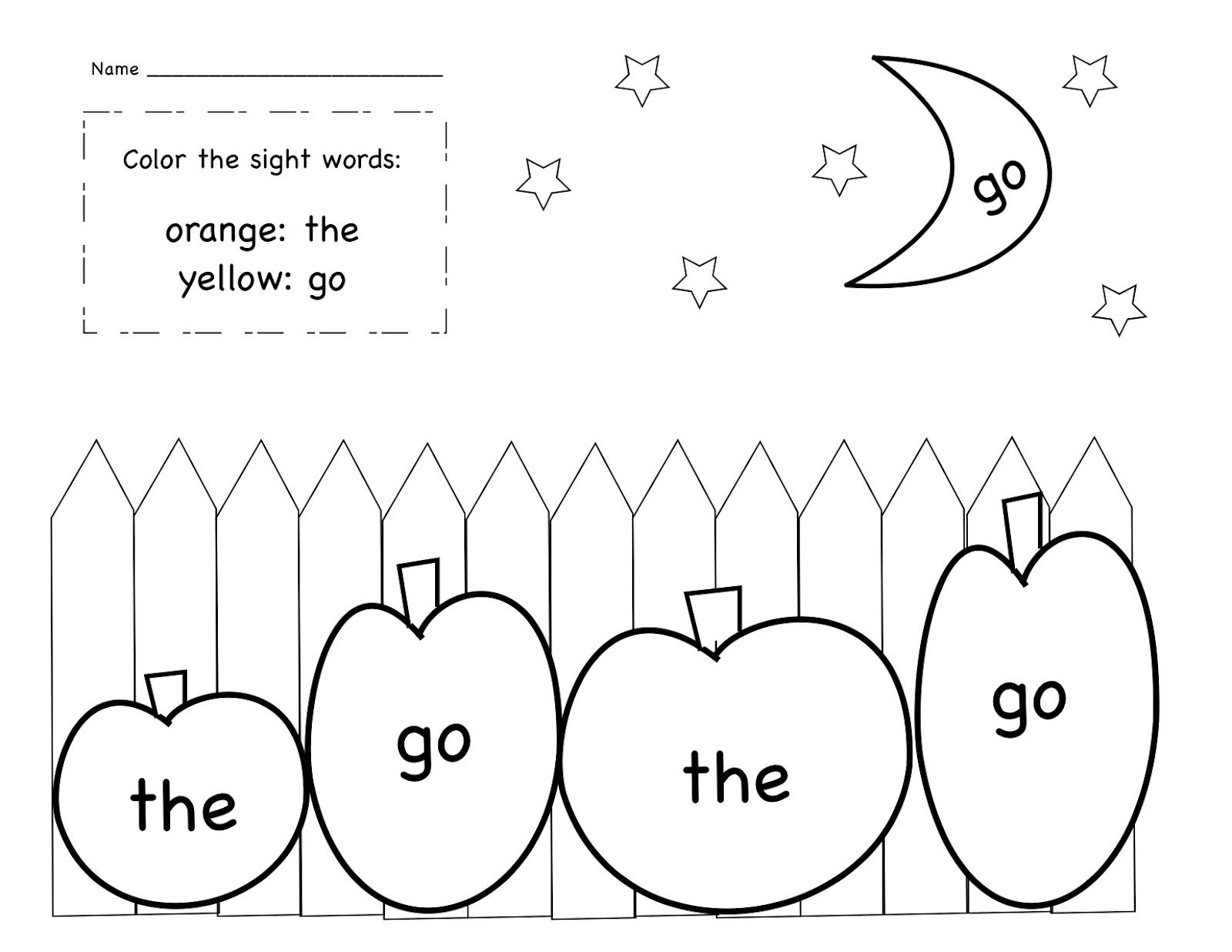 October Sight Word Coloring Sheet Freebie From Kinder Learning Garden Blog