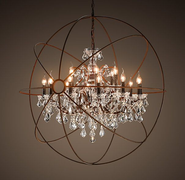 Foucault S Orb Crystal Chandelier Rustic Iron Large By Restoration Hardware