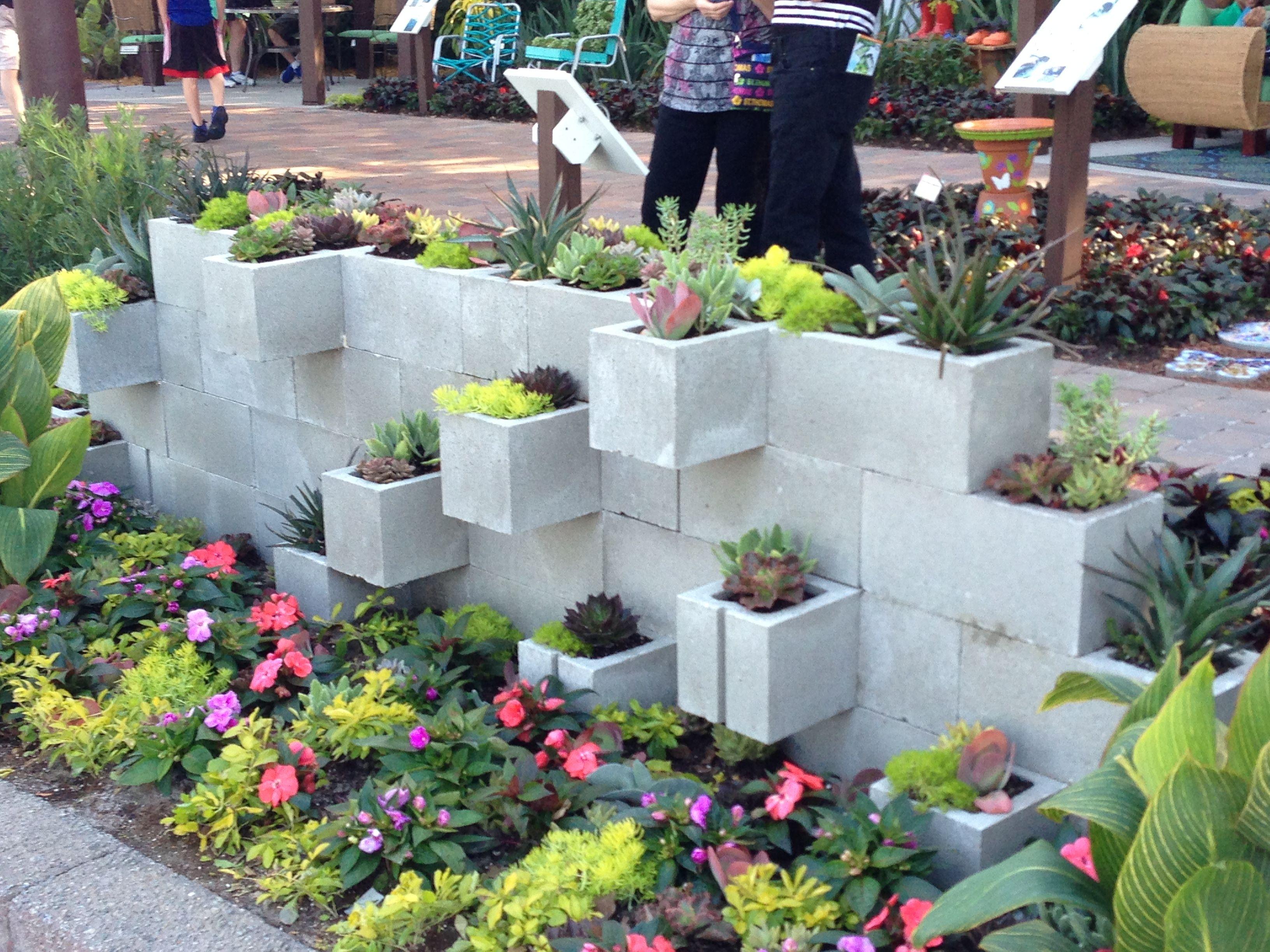 Concrete block planter wall! | Gardening | Pinterest ... on Backyard Cinder Block Wall Ideas  id=49142