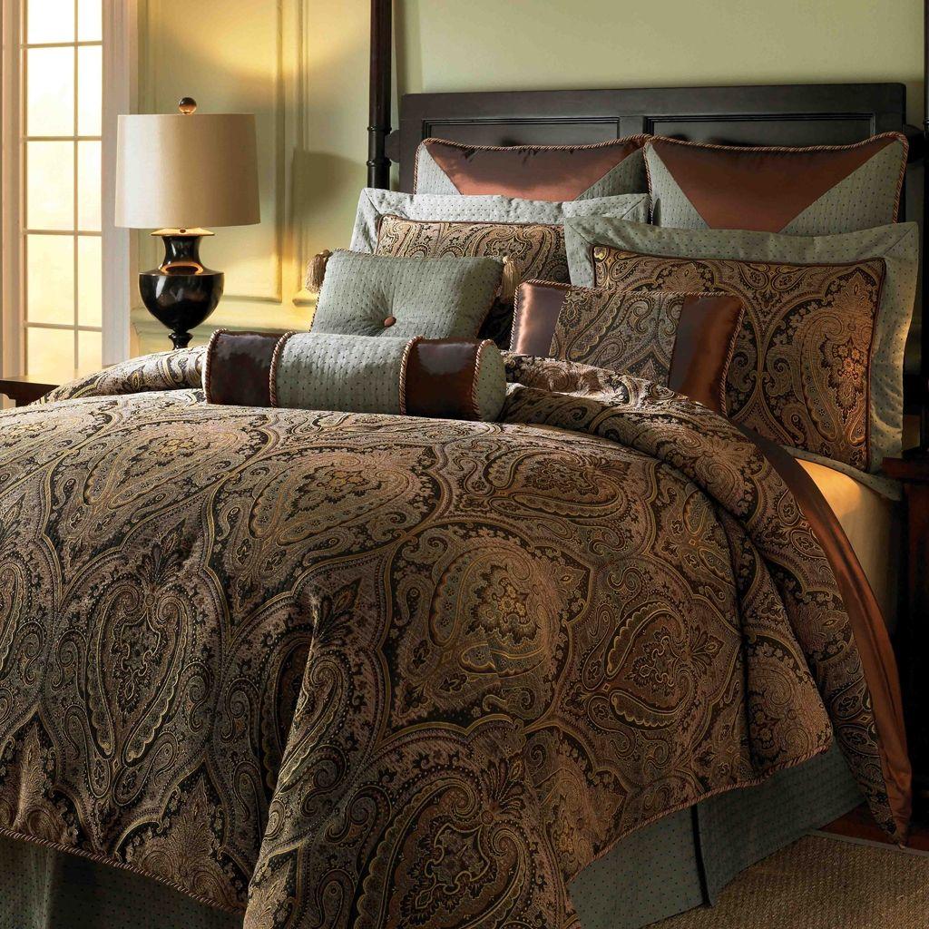 King Size Brown Sage Stripe Bedspread