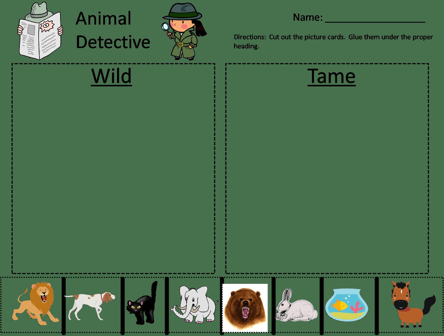 Preschool Sorting Animals Worksheet