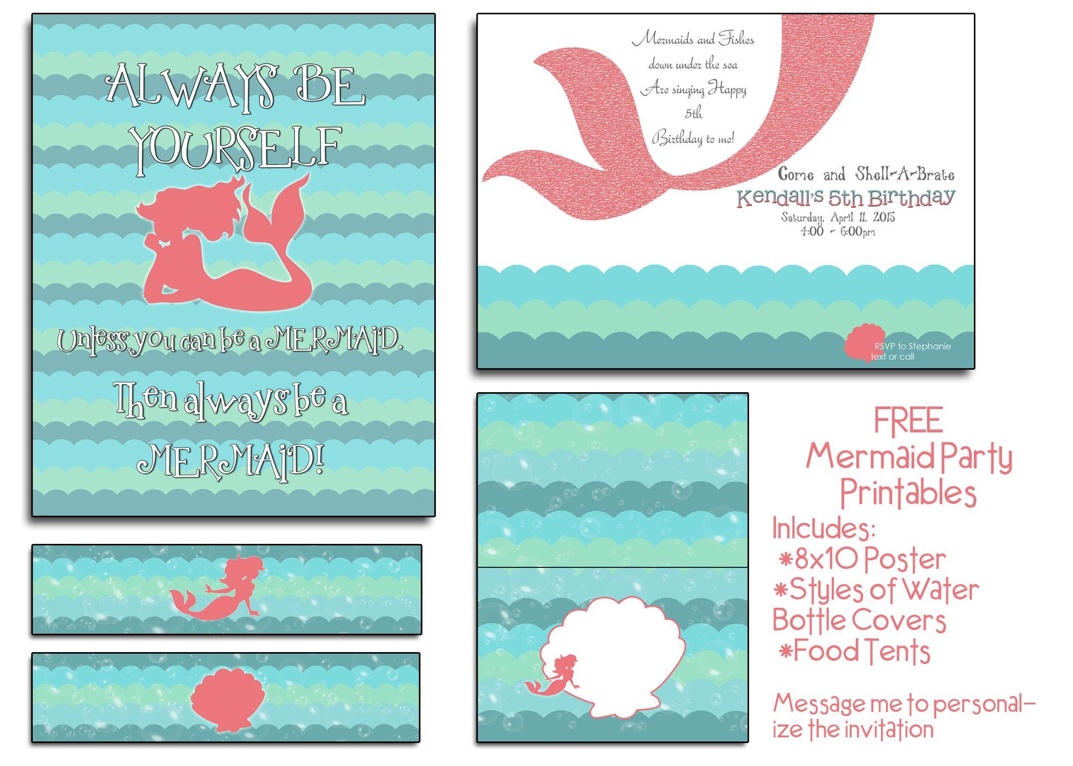 photo relating to Mermaid Birthday Invitations Free Printable identify Totally free Mermaid Social gathering Printables