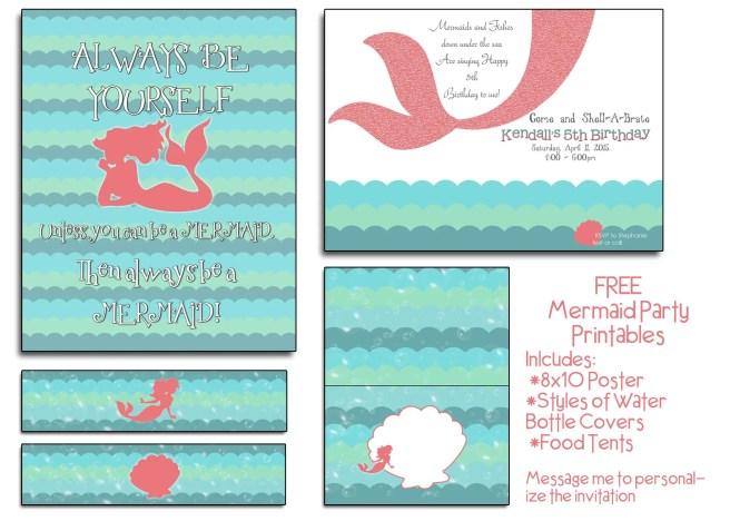 FREE Mermaid Party Printables – Mermaid Party Invitations Printable