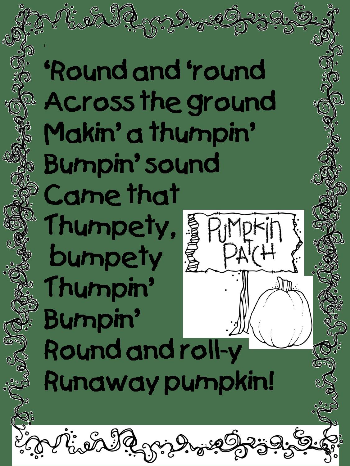 Pumpkin Poem From Runaway Pumpkin Book