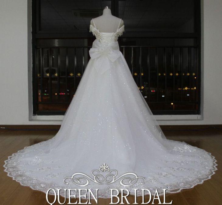 Newest Real Sample Cap Sleeve Turkish Crystal Rhinestone Wedding