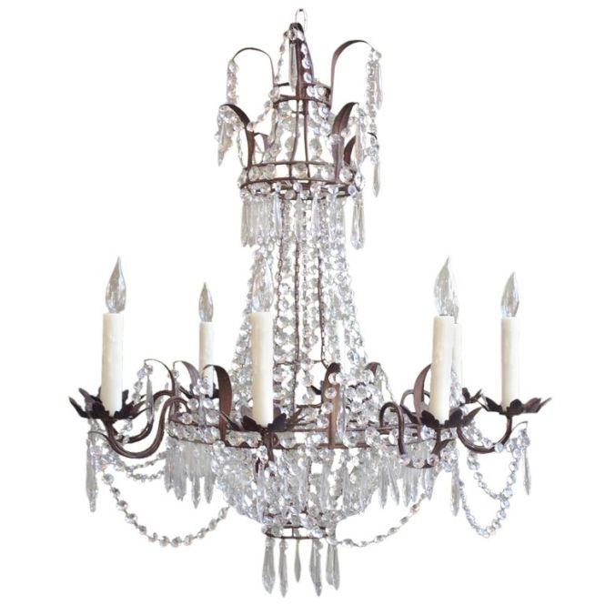 Beautiful 1910 1920s Italian Crystal And Tole Chandelier