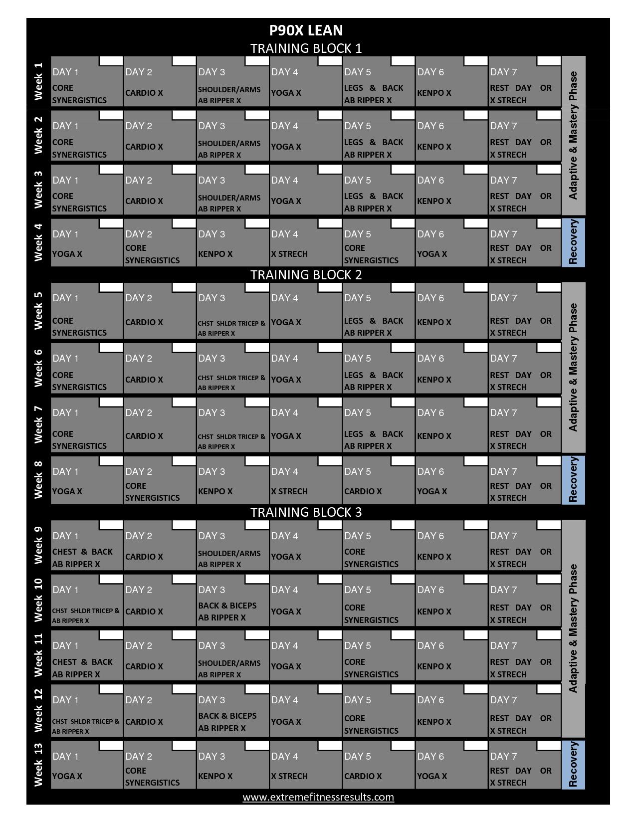 P90x Workout Schedule