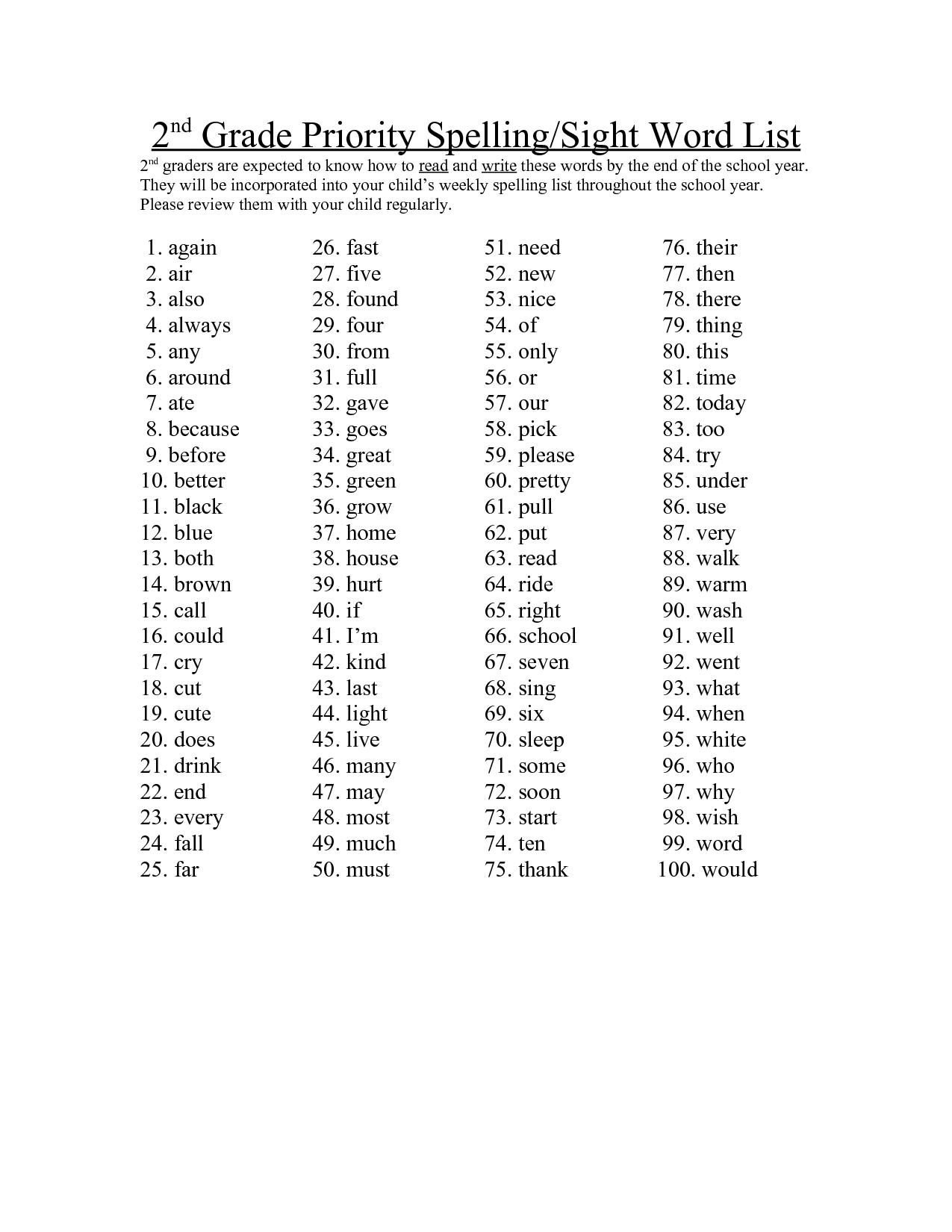 2nd Grade Sight Word List Printable