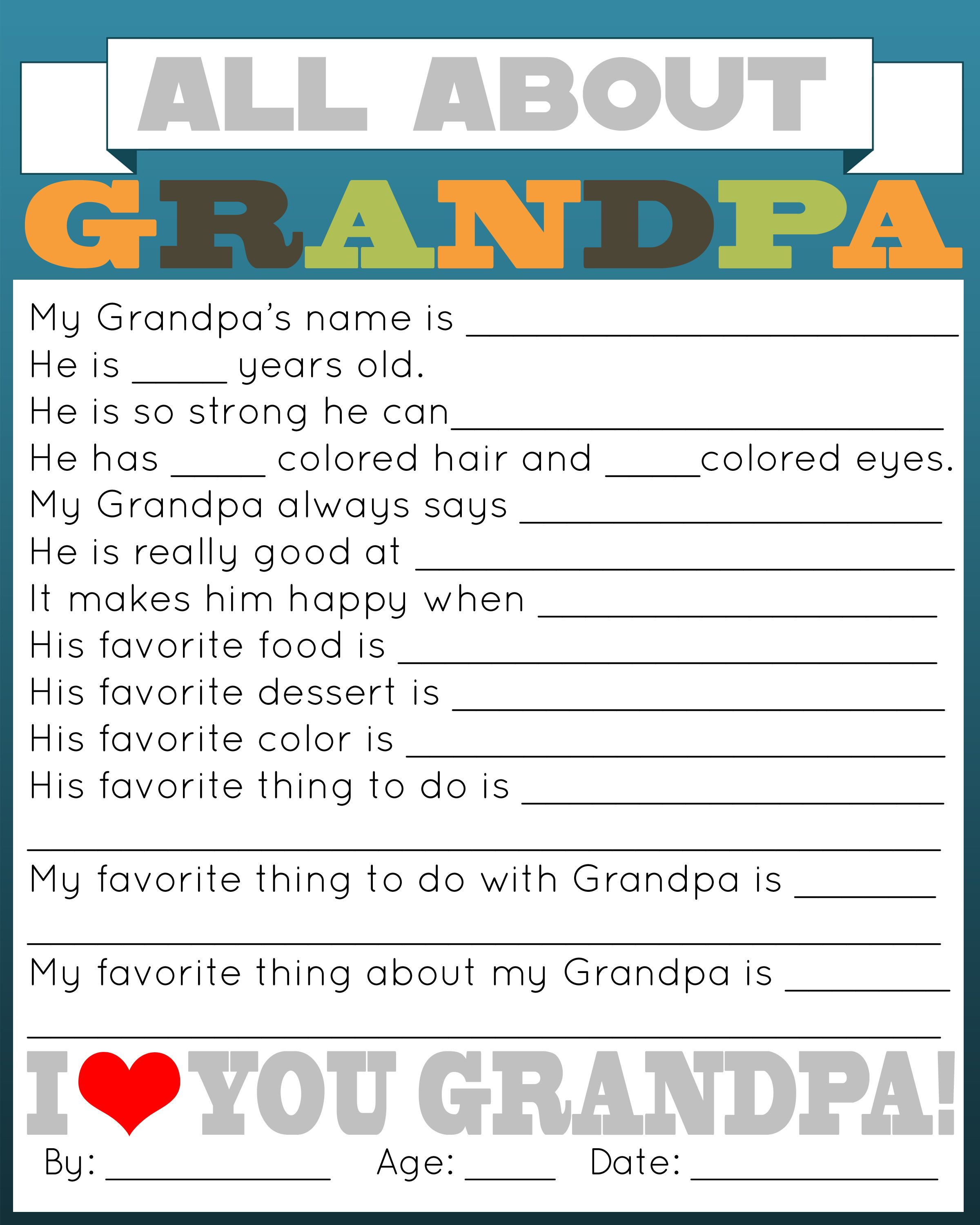 All About Daddy Printable