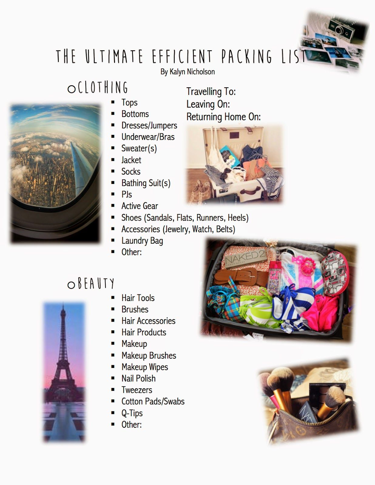 Kalyn Nicholson How I Pack For A Trip Print Off Packing List Amp Tips