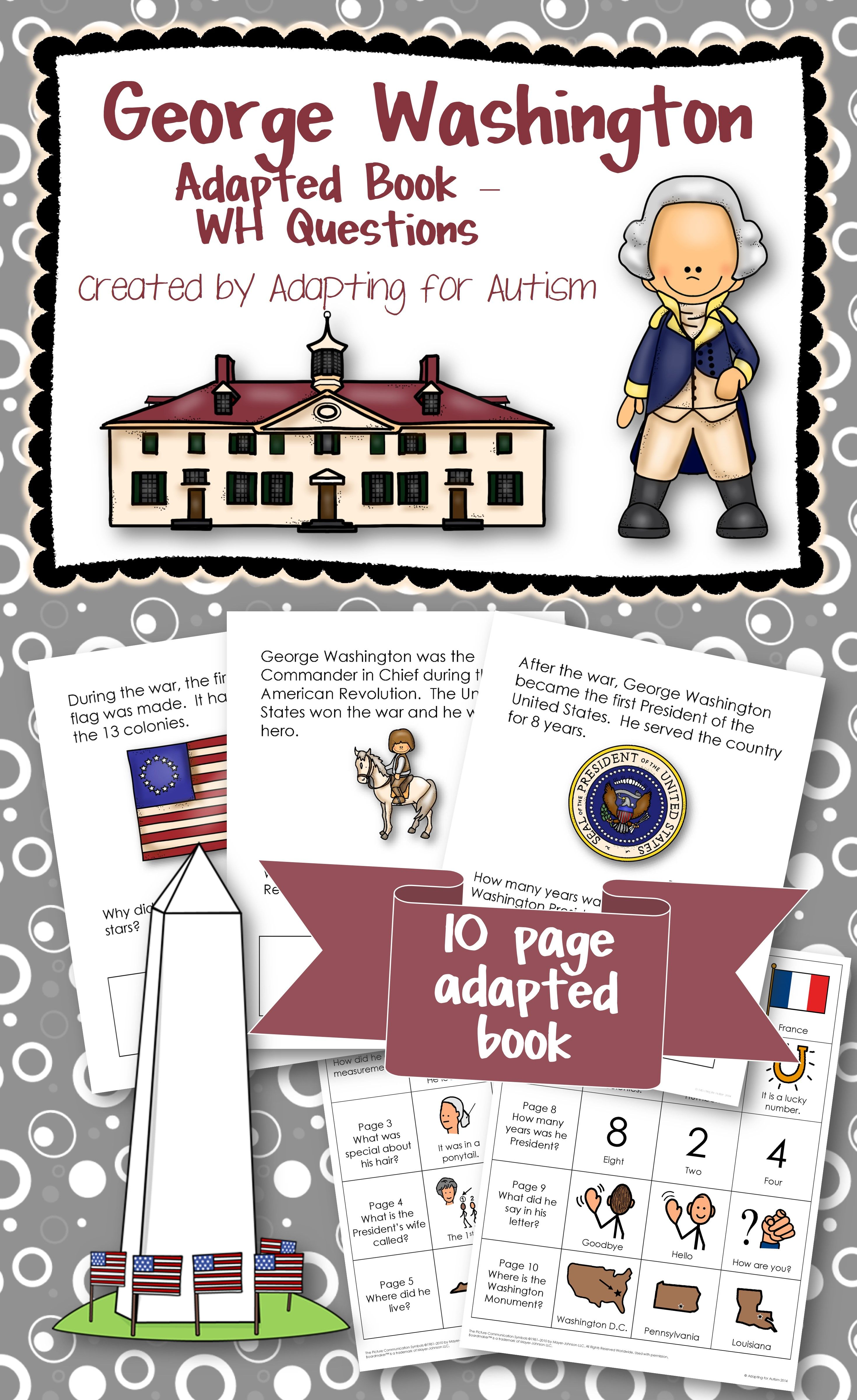 George Washington Adapted Book With Comprehension Questions Special Education