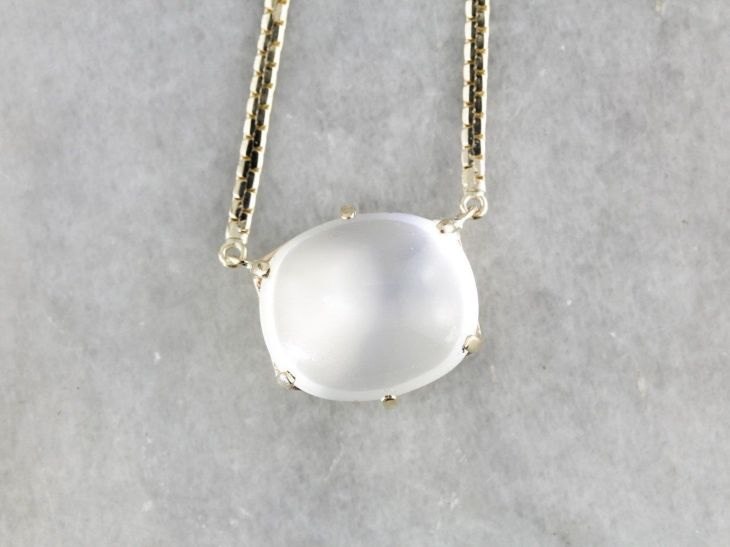 Sleek Moonstone Pendant Necklace in Yellow Gold My Style