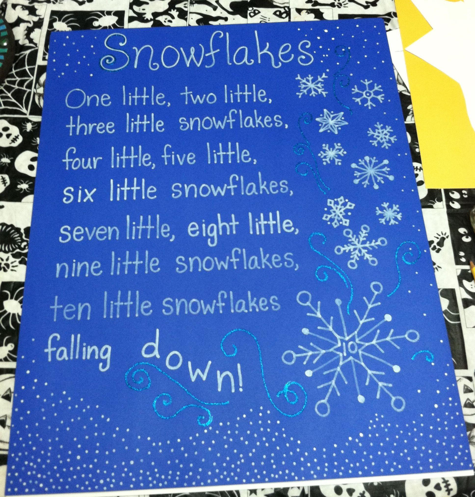 Snowflake Poem Song Tag Board