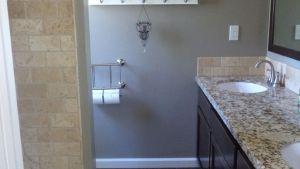The New Small Master Bathroom! Dark Tile Floors That Look
