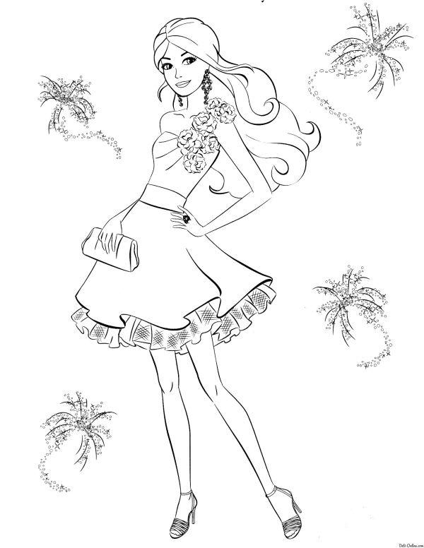 Раскраска Модное платье Барби | Ausmalbilder Barbie ...