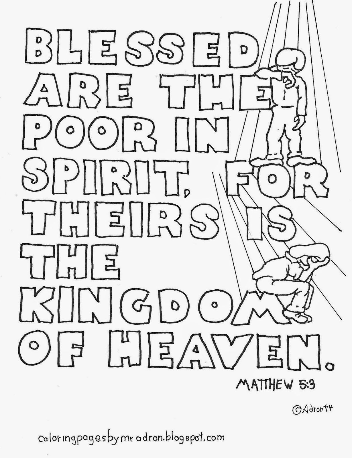 Coloring Pages For Kids By Mr Adron Matthew 5 3 Blessed